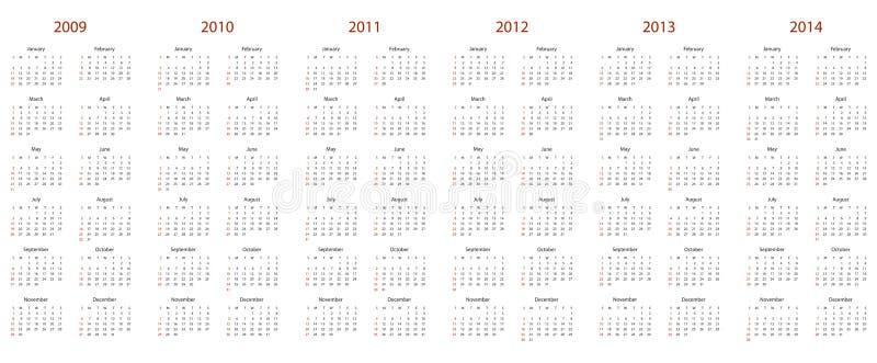 Calendario para 2009, 2010, 2011, 2012, 2013 y 2014 ilustración del vector