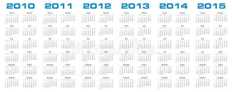 Calendario para 2010 a 2015 ilustración del vector