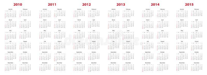 Calendario para 2010 a 2015 stock de ilustración