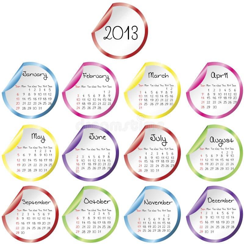 Calendario para 2013 con las etiquetas engomadas stock de ilustración