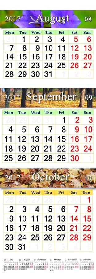 Calendario para agosto-octubre de 2017 con las imágenes coloreadas ilustración del vector