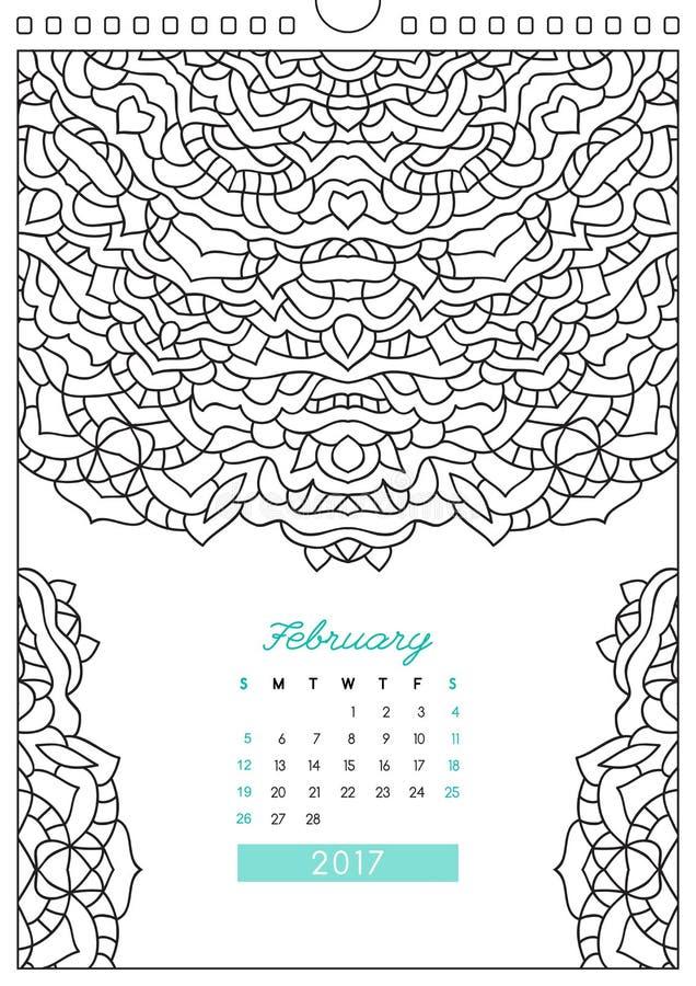 Calendario 2017 Para Colorear Ilustración del Vector - Ilustración ...