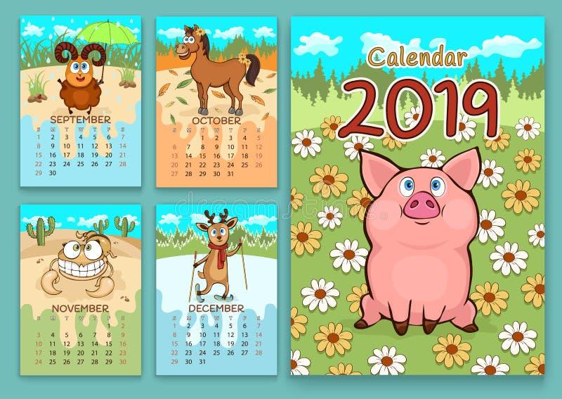 Calendario para 2019 con los animales divertidos de la historieta, mano que dibuja, ejemplo del vector Diseño colorido, brillante stock de ilustración
