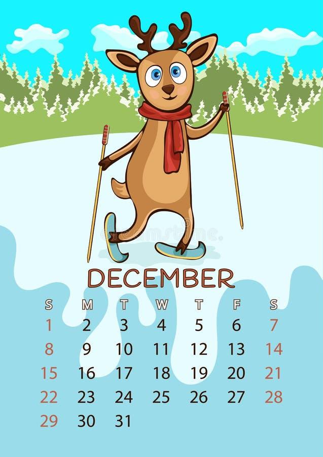 Calendario para 2019 con los animales divertidos de la historieta, mano que dibuja, ejemplo del vector Diseño colorido, brillante libre illustration