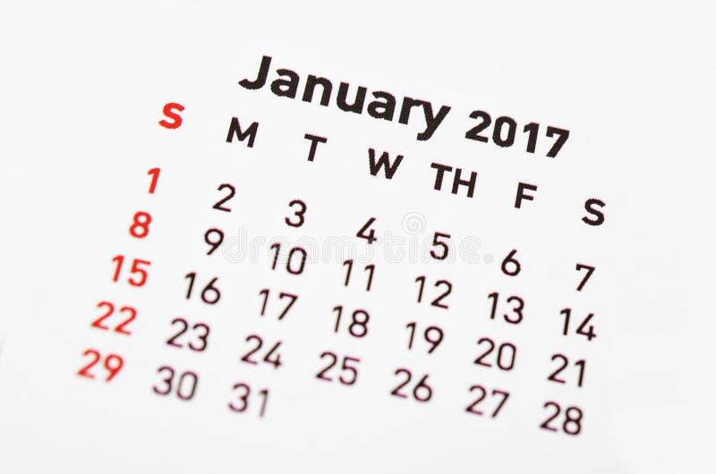 Calendario para enero de 2017 fotos de archivo libres de regalías