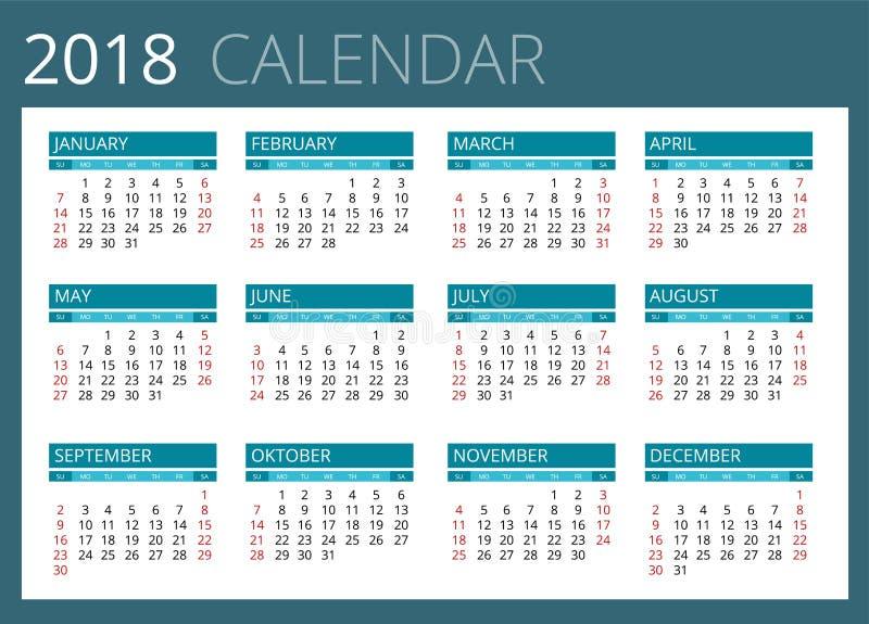 Calendario para 2018 La semana comienza domingo Diseño simple del vector ilustración del vector