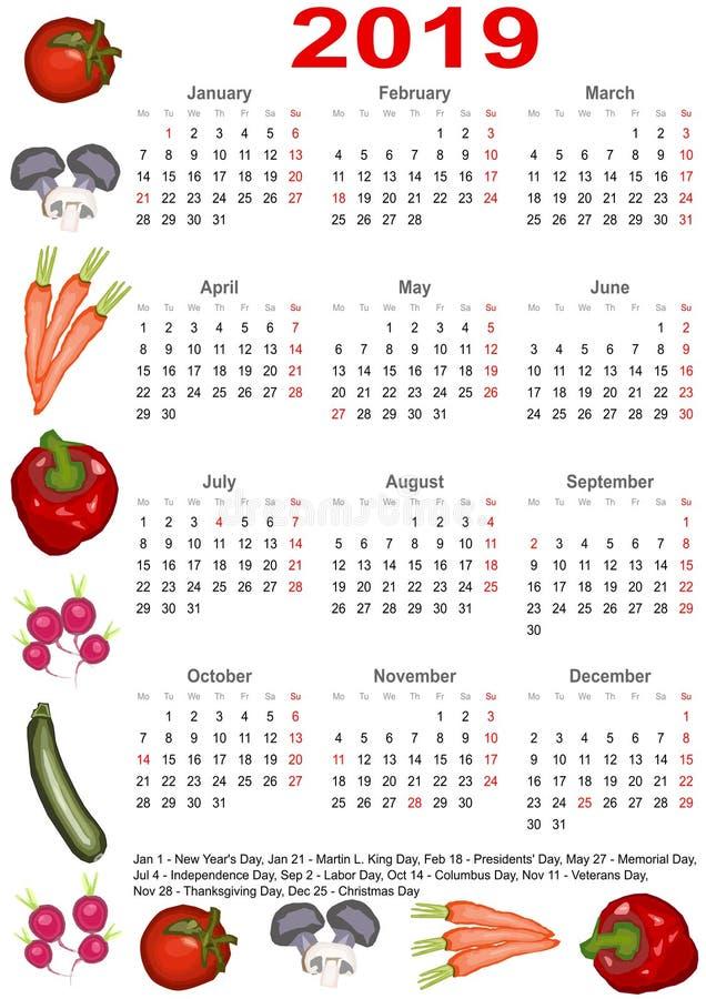 Calendario 2019 para los E.E.U.U. con las diversas verduras ilustración del vector