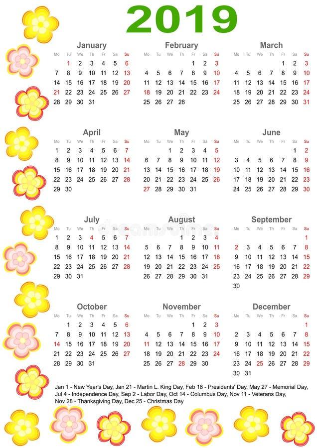 Calendario 2019 para los E.E.U.U. con las flores coloridas stock de ilustración