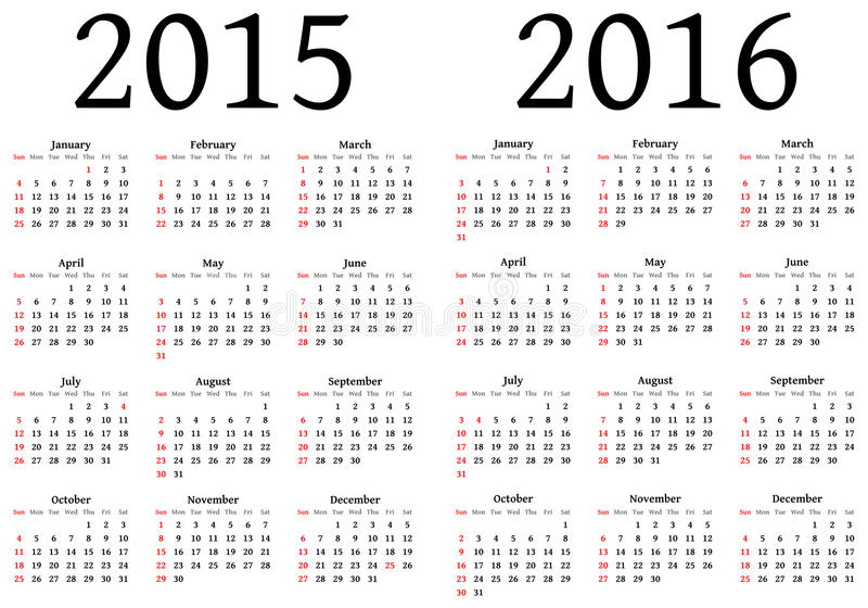 Calendario para 2015 y 2016 ilustración del vector