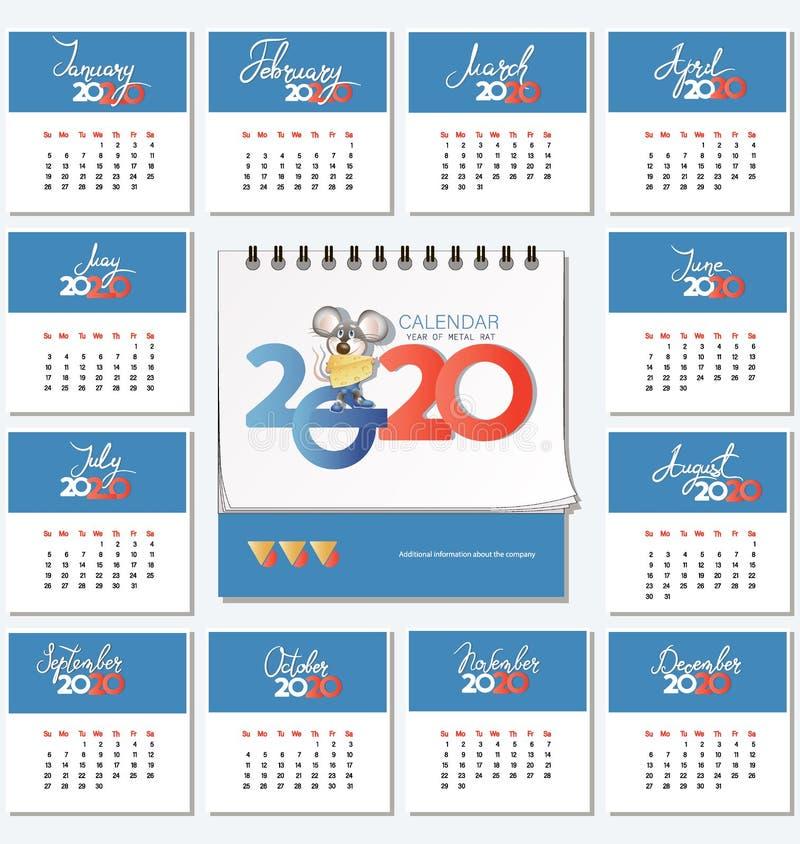 Calendario para 2020 y ratón con queso stock de ilustración