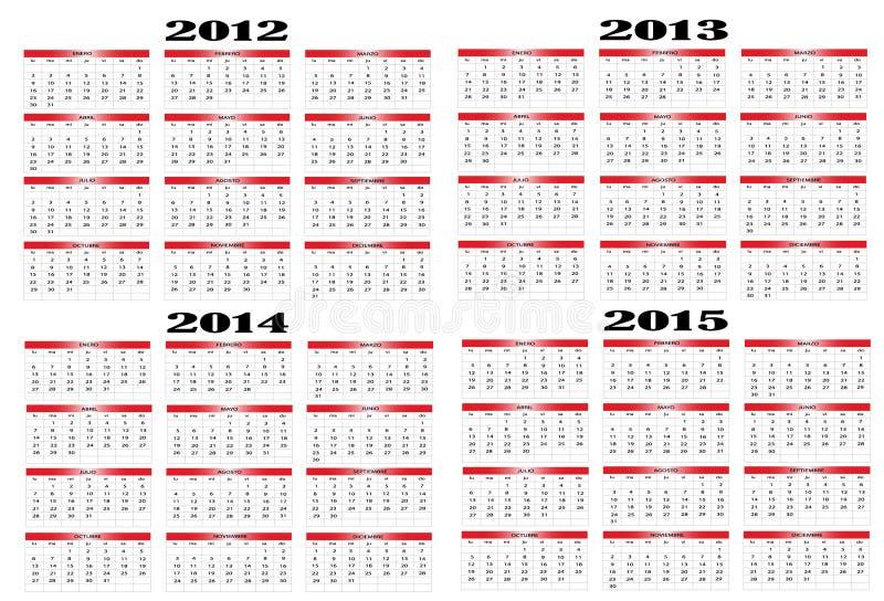Calendario a partir de 2012 a 2015 libre illustration