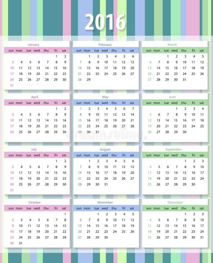 Calendario 2016 a partir de domingo libre illustration