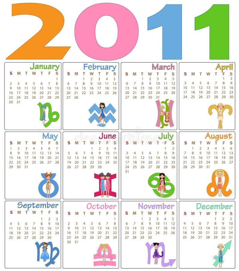 Calendario per 2011 illustrazione vettoriale