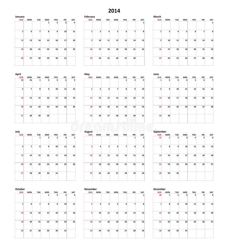 Calendario per 2014 fotografie stock