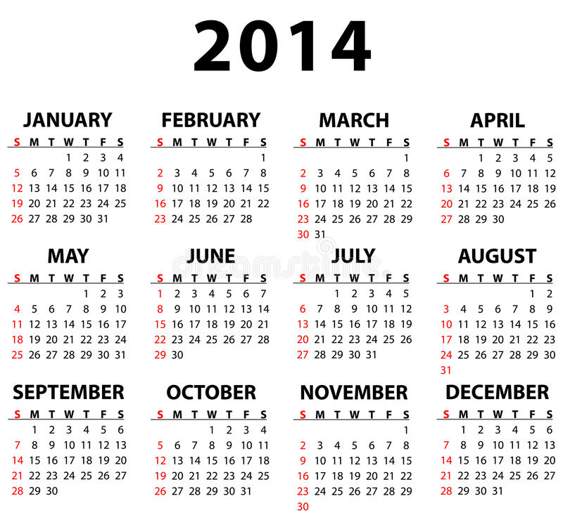 Calendario per 2014 illustrazione di stock