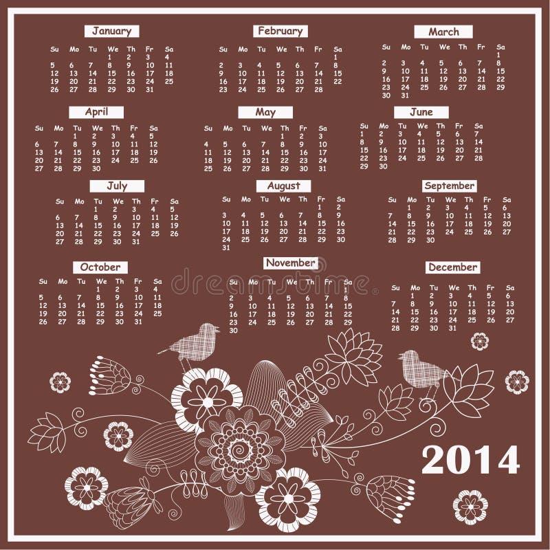 Calendario per 2014 illustrazione vettoriale