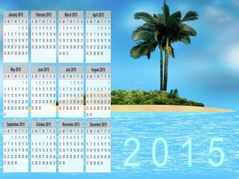 Calendario per 2015 illustrazione vettoriale