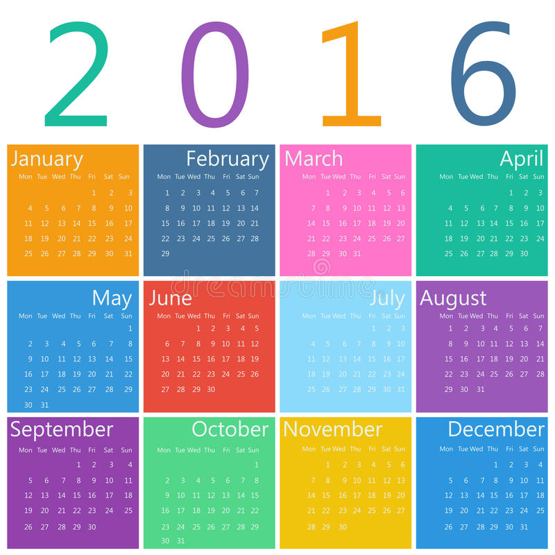 Calendario per 2016 illustrazione di stock