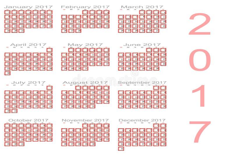 Calendario per 2017 fotografie stock libere da diritti