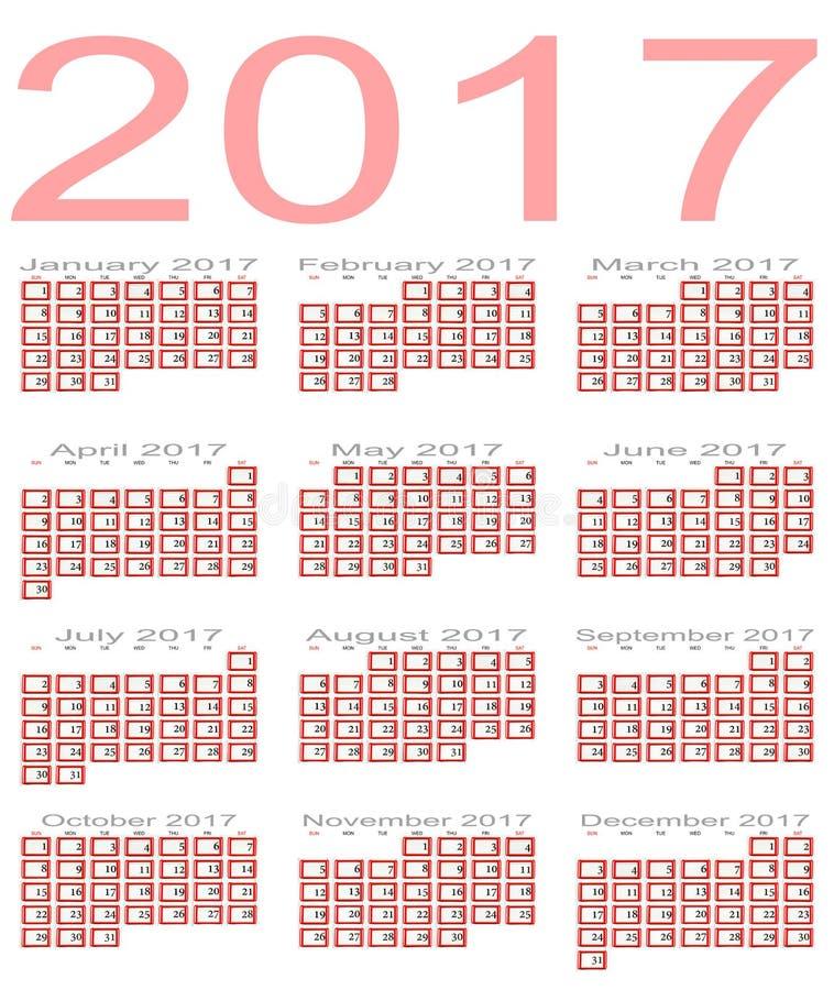 Calendario per 2017 fotografie stock