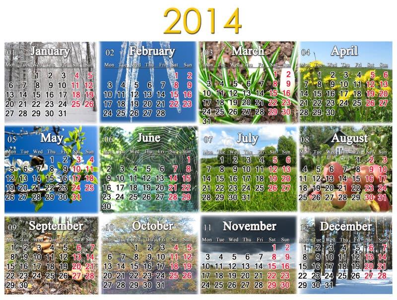 Calendario per 2014 anni fotografie stock libere da diritti