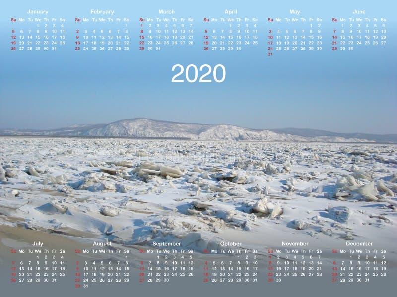 Calendario per 2020 illustrazione vettoriale
