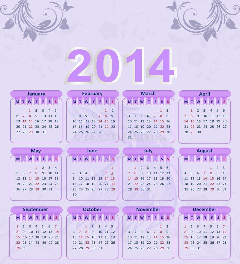Calendario per 2014 con un modello floreale illustrazione vettoriale