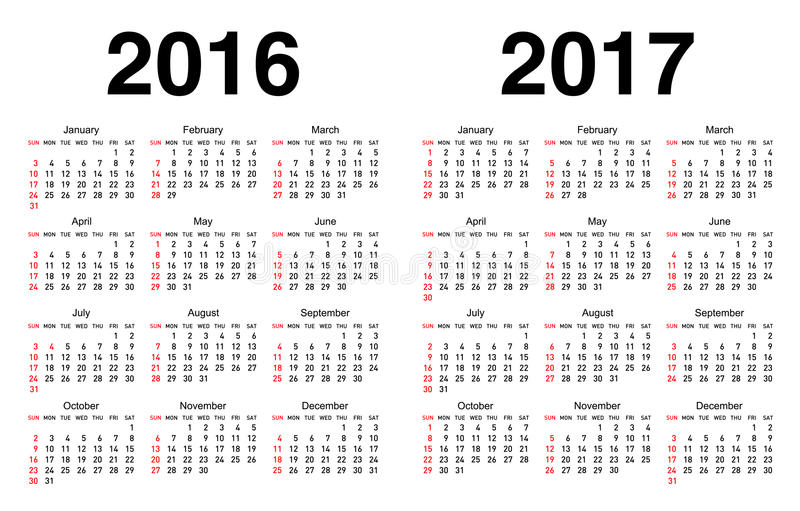Calendario per 2016 e 2017 royalty illustrazione gratis
