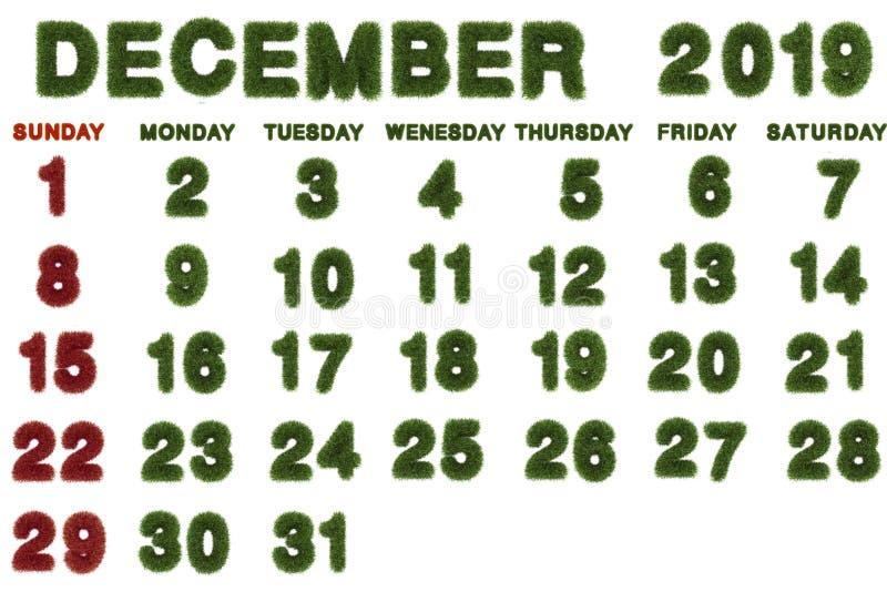 Calendario per il dicembre 2019 su fondo bianco, fotografia stock