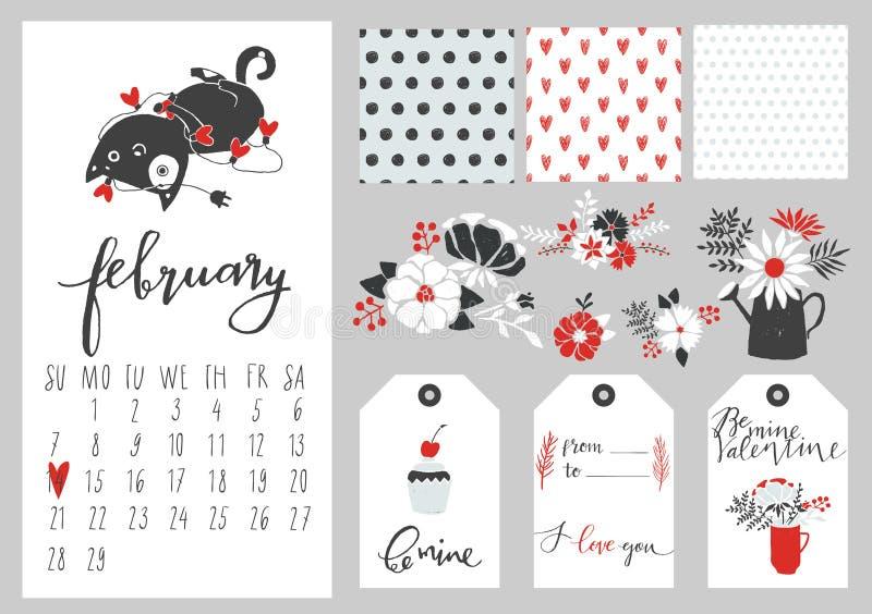 Calendario per il febbraio 2016 con il gatto illustrazione vettoriale