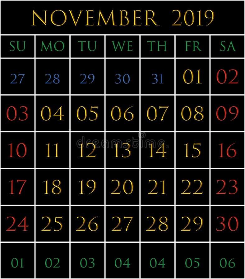 Calendario 2019 per il mese di novembre royalty illustrazione gratis