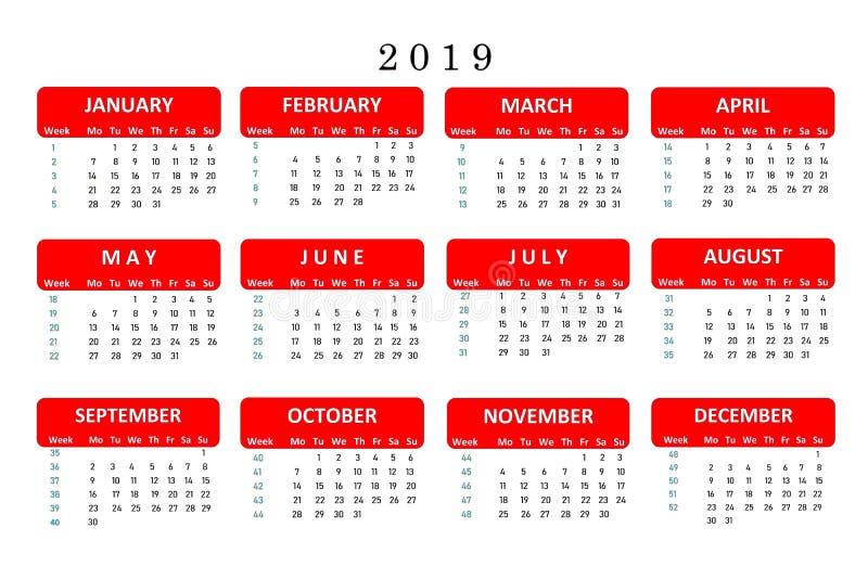 Calendario per 2019, uno strumento popolare per le note importanti e lavoro nell'ufficio Il calendario è il vostro assistente per royalty illustrazione gratis