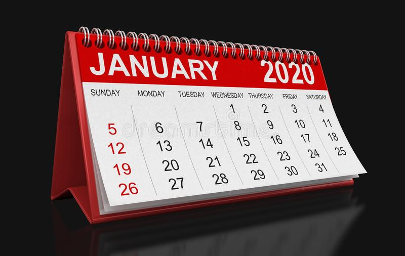 Calendario - Percorso di clipping gennaio 2020 incluso royalty illustrazione gratis
