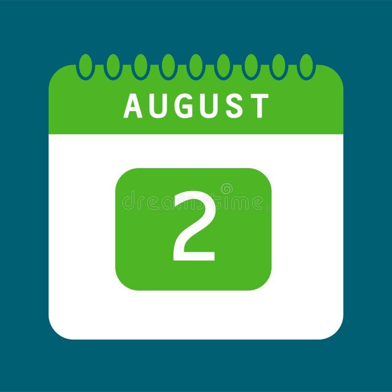 Calendario piano secondo dell'icona di augusto illustrazione vettoriale