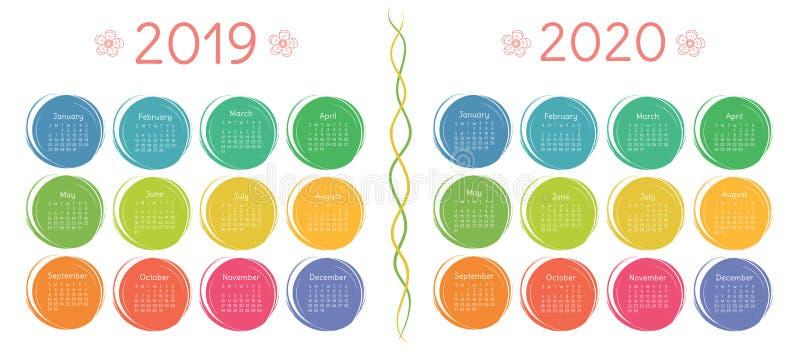 Calendario 2019, plantilla de 2020 diseños Color, niños, divertidos foto de archivo
