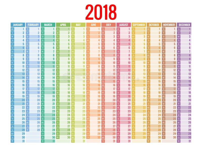 calendario 2018 Plantilla de la impresión La semana comienza domingo Orientación del retrato Sistema de 12 meses Planificador por libre illustration