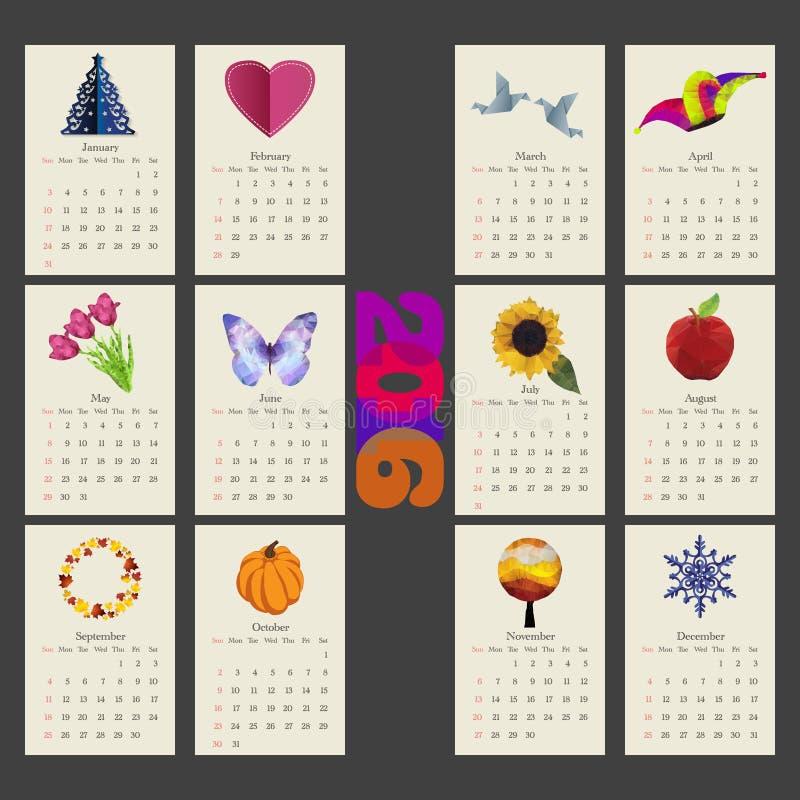 Calendario Plantilla Del Diseño Del Vector De 2015 Años Foto de ...