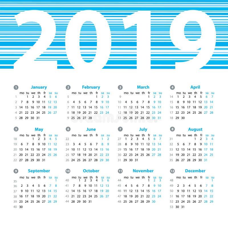 calendario plantilla del diseño del vector de 2019 años ilustración
