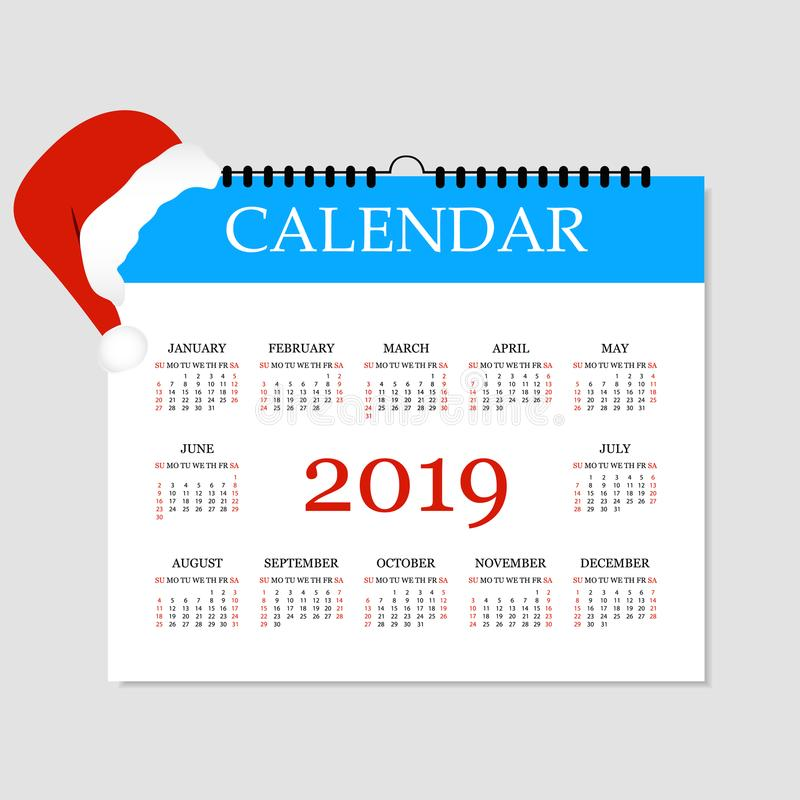 Calendario 2019 Plantilla Simple Del Calendario Por El Año 2019 ...