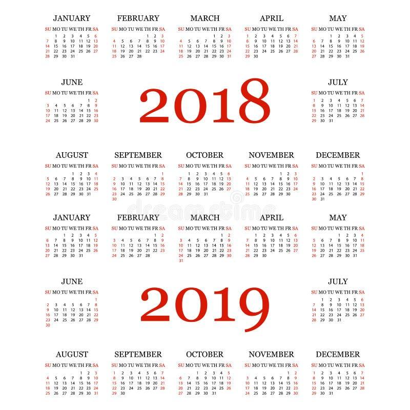 Calendario 2018, 2019 Plantilla Simple Del Calendario Por El Año ...