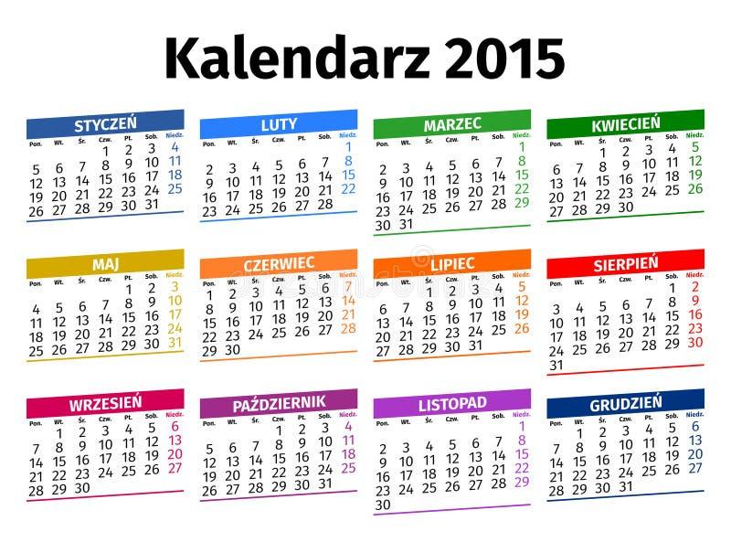 Calendario polaco 2015 foto de archivo libre de regalías