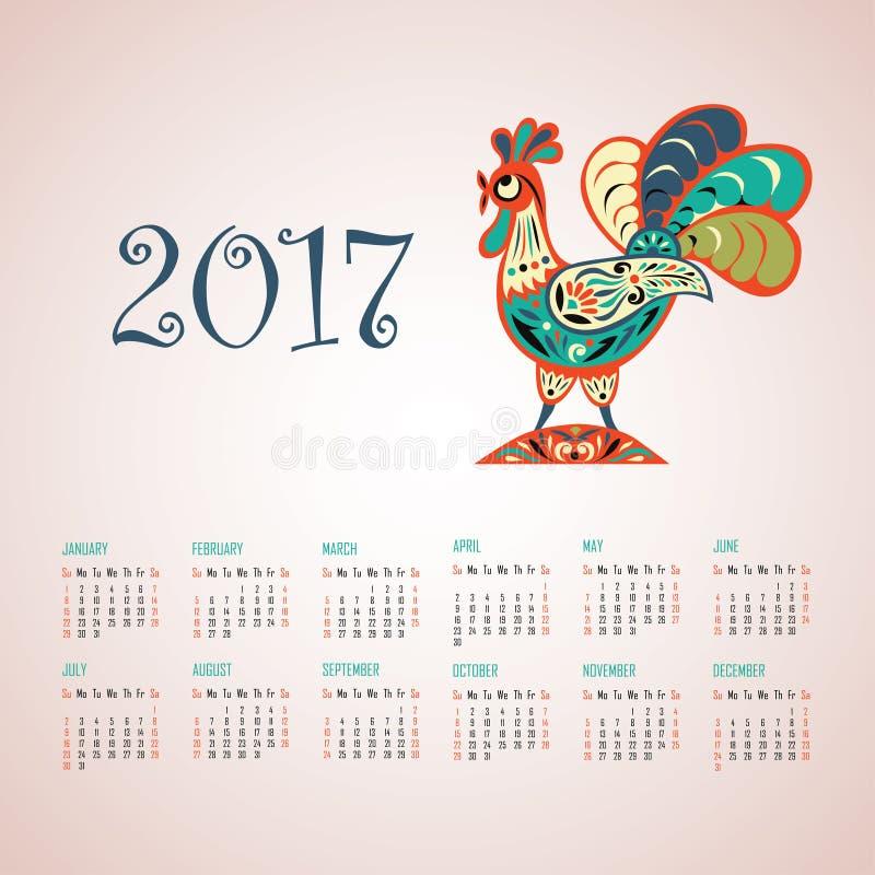 Calendario por 2017 años ilustración del vector
