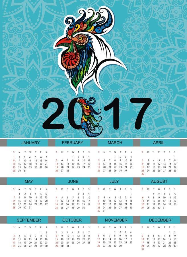 Calendario por 2017 años con el rooste stock de ilustración