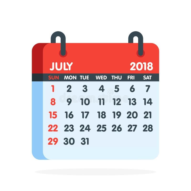 Calendario por 2018 años Mes completo del icono de julio Ilustración del vector ilustración del vector