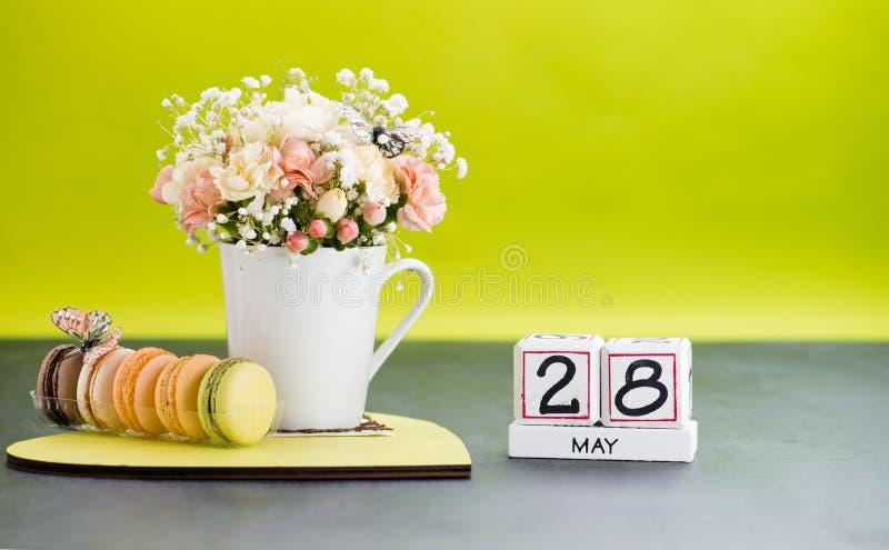 Calendario primo piano del 28 maggio, dof basso fotografie stock libere da diritti