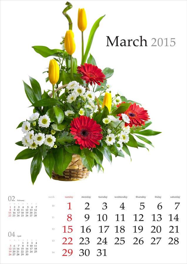 Calendario 2015 procedere fotografie stock libere da diritti