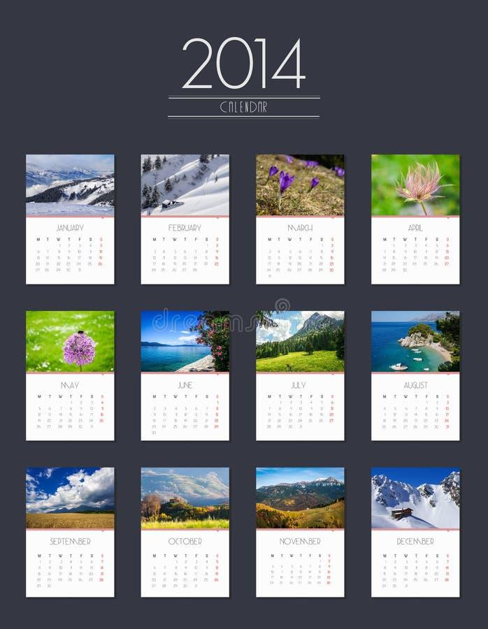 Calendario 2014 - progettazione piana fotografia stock