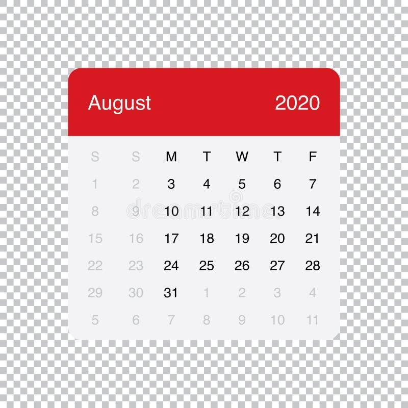 Calendario Di Agosto 2020.Ufficio Calendario Agosto 2020 Illustrazione Di Stock