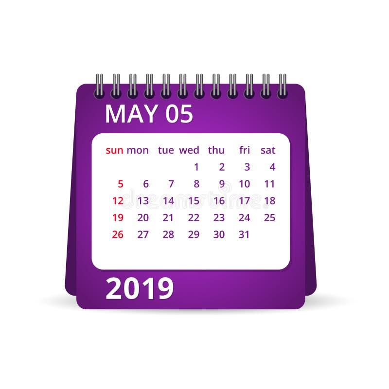 calendario 2019 pueda Ilustración del vector libre illustration