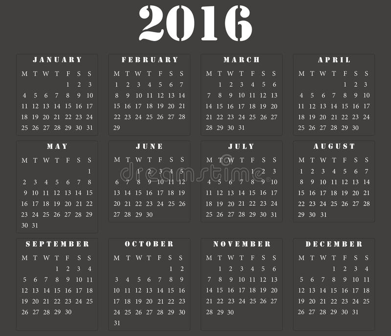 Calendario quadrato europeo semplice 2016 royalty illustrazione gratis